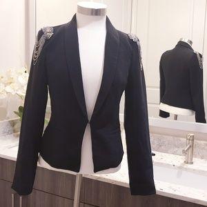 Black Blazer Jacket w. Beaded Accents